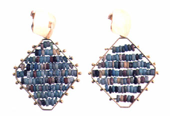 Egyptian Faience Beads Set in a Pair of Modern 18 Karat Gold Earrings