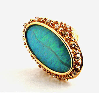 Australian Opal Ring with 16 Diamonds