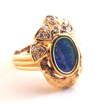 Australian Opal Ring with 13 Diamonds