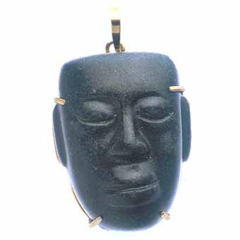 Teotihuacan Black Stone Mask Amulet Set in Pendant