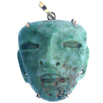 Gold Pendant Featuring a Teotihuacan Jade Mask Amulet