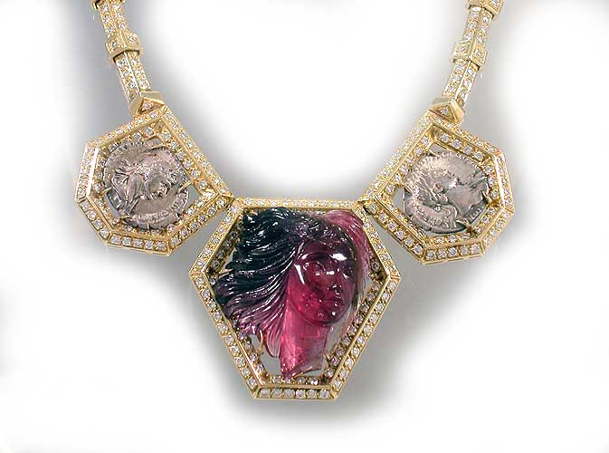 Diamond Studded Gold Necklace Featuring a Pink Tourmaline Pendant and Two Roman Silver Denarii