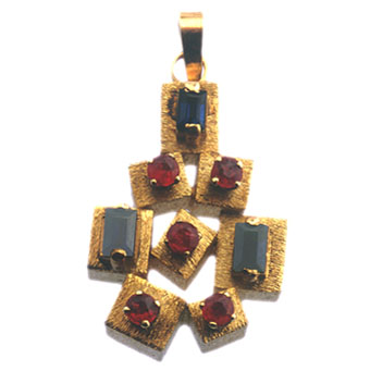 Pendant Of 5 Rubies And 3 Sapphires
