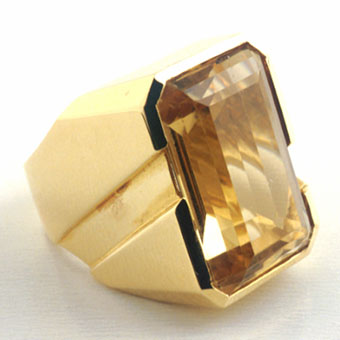 18 Karat Gold Ring Set with a Yellow Topaz