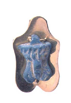 Faience Phallic Amulet in a Gold Pendant