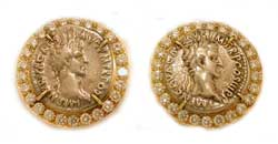 Gold Cufflinks Featuring Two Silver Denarii of Roman Emperor Nerva