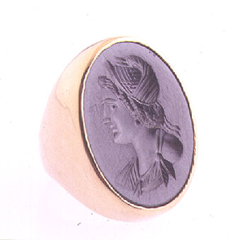 Gold Ring Featuring a Classical Revival Hematite Intaglio Depicting a Roman Empress