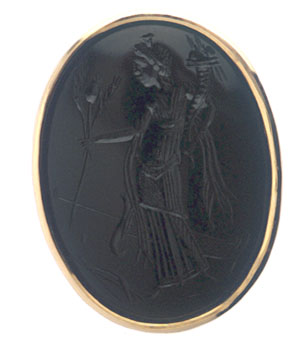 Classical Revival Intaglio depicting the Roman Goddess Fortuna