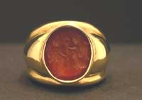 Carnelian Intaglio Depicting the Goddesses Fortuna and Victory