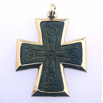 Byzantine Cross Mounted in a Gold  Setting