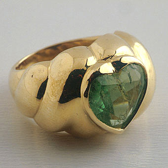 Heart Shaped Columbian Emerald Ring