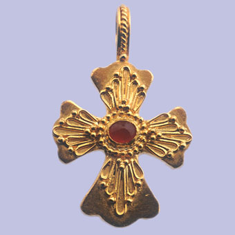 Byzantine-Style Gold Cross with Ruby