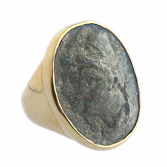 Gold Ring with Metal Alloy Cameo
