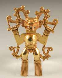 Diquis Gold Pendant of a Shaman Dressed in a Saurian Costume
