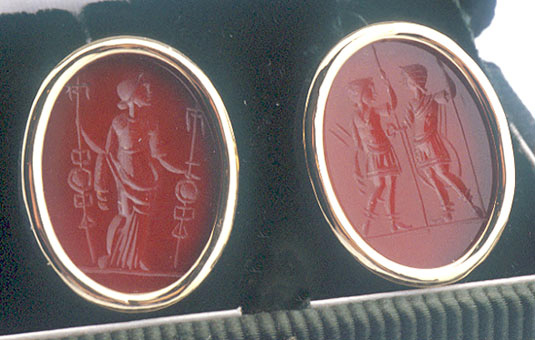 Two Carnelian Intaglios Depicting  a Female Figure Perhaps Victoria