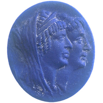 Classical Revival Lapis Lazuli Cameo of a Couple