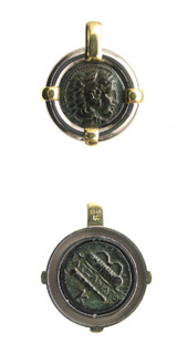Silver and Gold Pendant with Bronze Coin of Alexander the Great