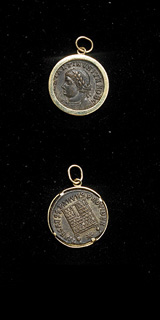 Gold Pendant with Bronze Coin of Emperor Constantine II