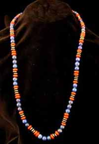 Lapis Lazuli, Jasper, Hematite Bead Necklace With A 14 Karat Gold Clasp