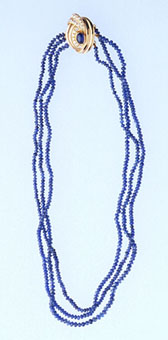 Three Strand Sapphire Bead Necklace with Cabochon sapphire