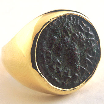 Gold Ring Featuring a Jewish Bronze Coin Minted During the Bar Kokhba Revolt