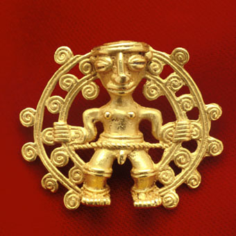 Pre-Columbian Art / Gold Pendant of a Shaman