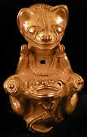 Pre-Columbian Art / Tairona Gold Pendant of a Jaguar Giving Birth