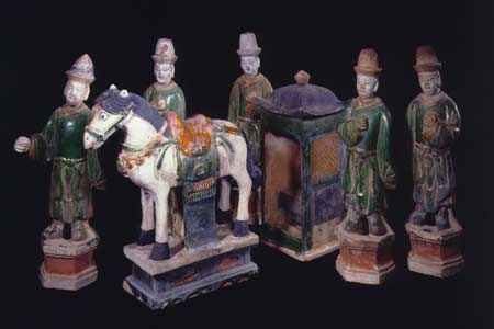 Set of Five Ming Glazed Terracotta Attendants, a Horse, and a Palanquin