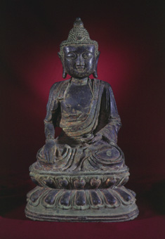Ming Bronze Sculpture of the Buddha Seated in the Dhyanasana Position
