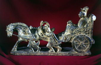 Ming Stone Sculpture of a Chariot Rider, Horse and Attendents