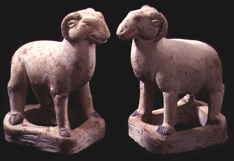 Pair of Tang Standing Rams