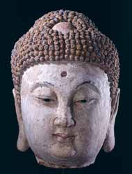Yuan Painted Terracotta Head of the Buddha