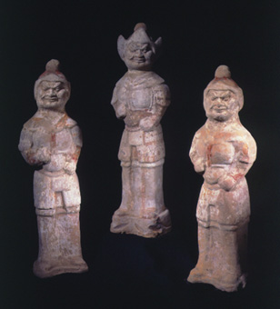 Set of Three Tang Polychrome Guardian Figures