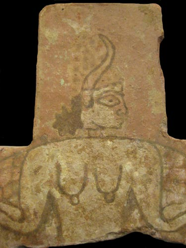 Assyrian Glazed Brick Tile Depicting a Mythological Creature