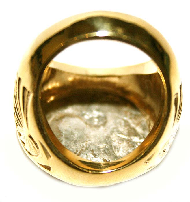 Corinthian Silver Coin Set in a Gold Ring