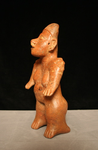 El Arenal Brown Style Jalisco Terracotta Sculpture of a Standing Woman