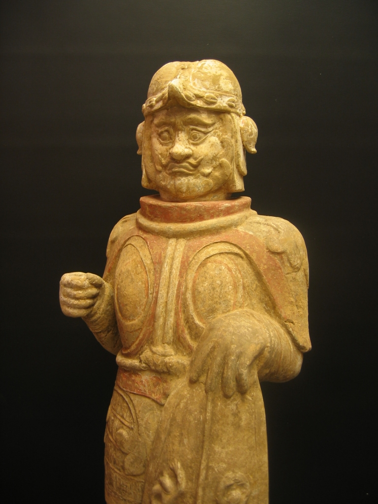 Eastern Wei Painted Pottery Warrior Carrying a Shield