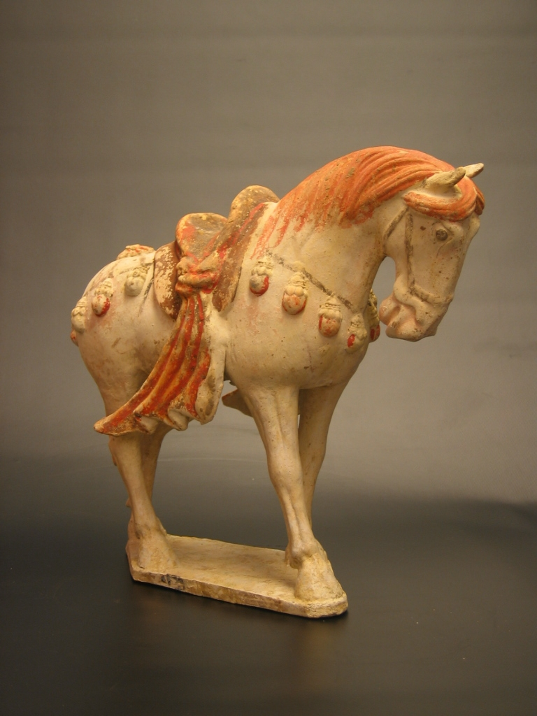 Sui Dynasty Painted Pottery Horse with Long Saddle