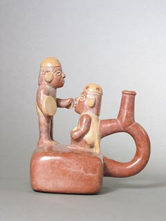 Moche Stirrup Vessel Depicting Two Warriors