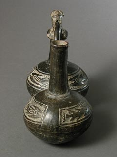 Chimu Blackware Double-Bodied Whistle Vessel