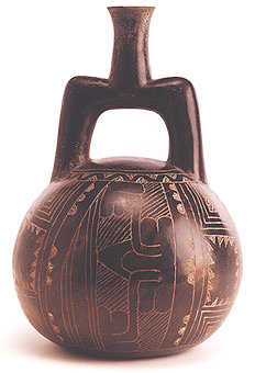 Chavin Blackware Stirrup Vessel with Incised Decoration