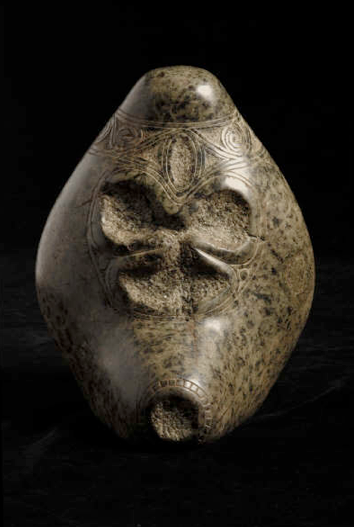 Taino Stone Trigonolitos Depicting a Skull
