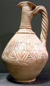 Large Pottery Jug with Incised Decoration
