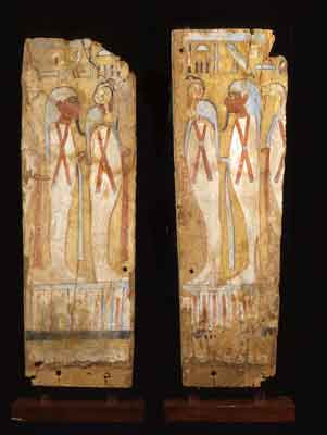 A Pair of Third Intermediate Period Painted, Wooden Panels