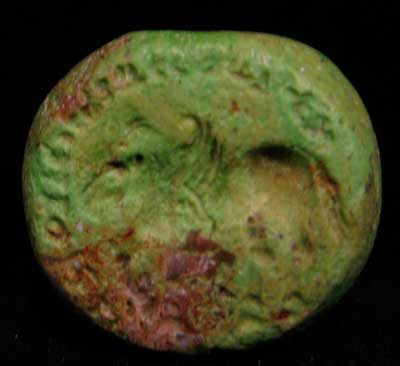 Sassanid Turquoise Seal Depicting a Winged Bull