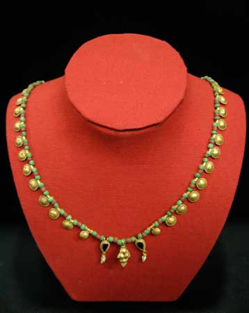 Ancient Beaded Necklace with Gold Pendants