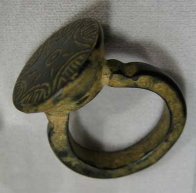 Byzantine Bronze Ring with Incised Decoration