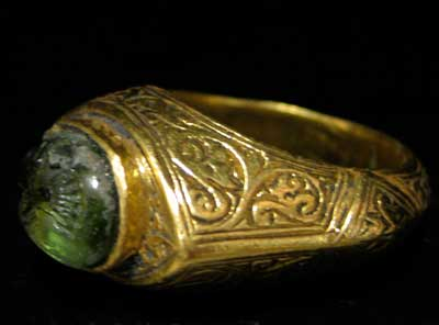 Ottoman Gold Ring Featuring a Tourmaline or Peridot Seal Depicting an Eagle