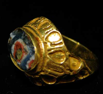 Ancient Glass Set in a Gold Ring