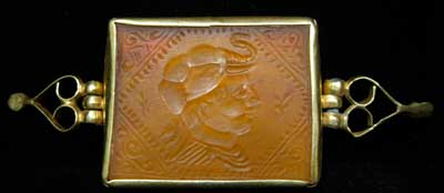 Intaglio Featuring King Demetrius I of Bactria in a Gold Mount